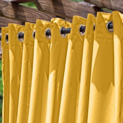 Yellow Extra Wide Outdoor Curtain with Nickel Grommets