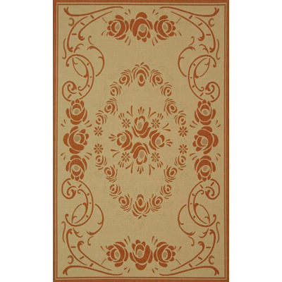 Courtyard Floral Procession Natural / Terracotta Outdoor Rug 5ft 3in