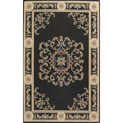 Courtyard Antique Medallion Black / Sand Outdoor Rug 5ft 3in X 7ft 7i