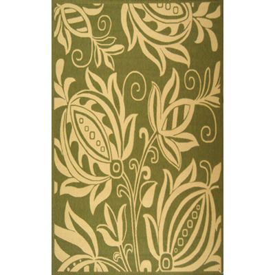 Courtyard Fantasy Floral Olive / Natural Outdoor Rug 7ft 10in X 11ft