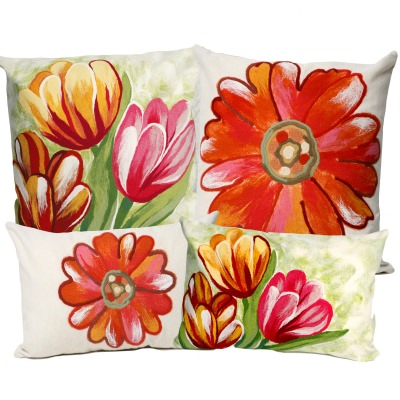 Daisy and Tulip Outdoor Pillow Set