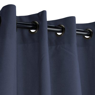 Sunbrella Canvas Navy Outdoor Curtain with Dark Gunmetal Grommets 50 in. x 84 in.