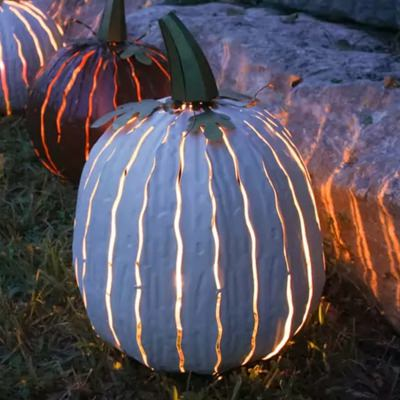 Tall White Pumpkin Luminary