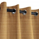 Sunbrella Dupione Caramel Outdoor Curtain with Old Copper Grommets 50 in. x 84 in.