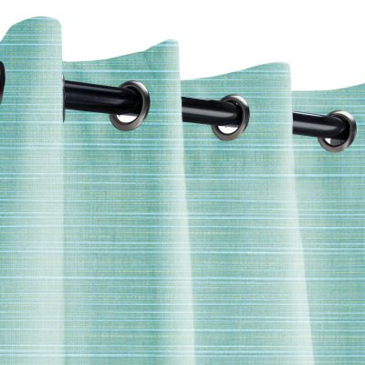 Sunbrella Dupione Celeste Outdoor Curtain with Grommets