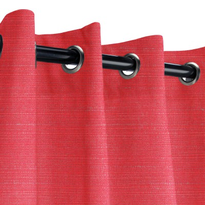 Sunbrella Dupione Crimson Outdoor Curtain with Grommets