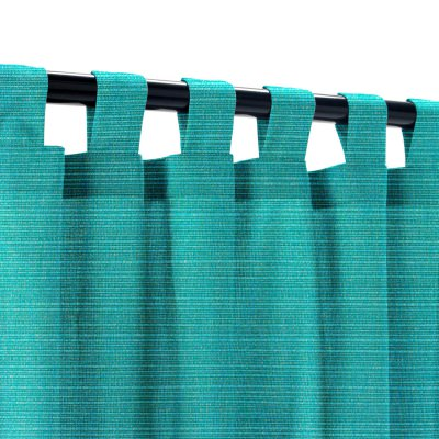 Sunbrella Dupione Deep Sea Outdoor Curtain with Tabs