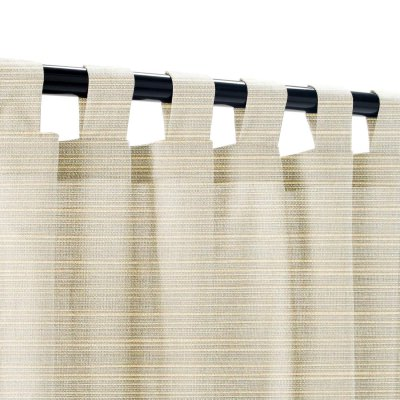Sunbrella Dupione Dove Outdoor Curtain with Tabs