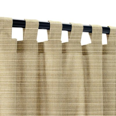 Sunbrella Dupione Latte Outdoor Curtain with Tabs