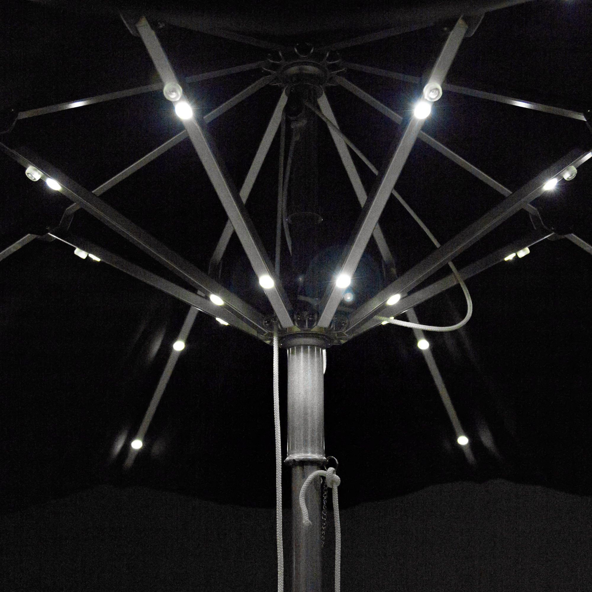 String Lights On Umbrella : 9 ft Illumishade Umbrella DFOHome