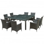 Modway Channels 9 Piece Outdoor Wicker Dining Set