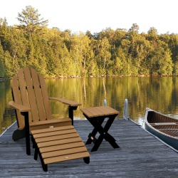 Essential Adirondack Chair with Folding Side Table and Ottoman