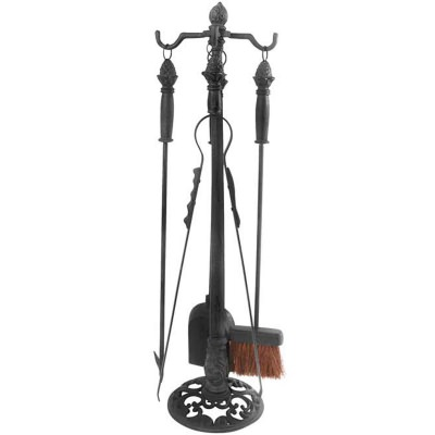 Fireplace Tool Stand - 4 pc Set - Cast Iron - Black