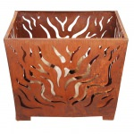 Laser Cut Flame Fire Basket with Patina Rust Finish