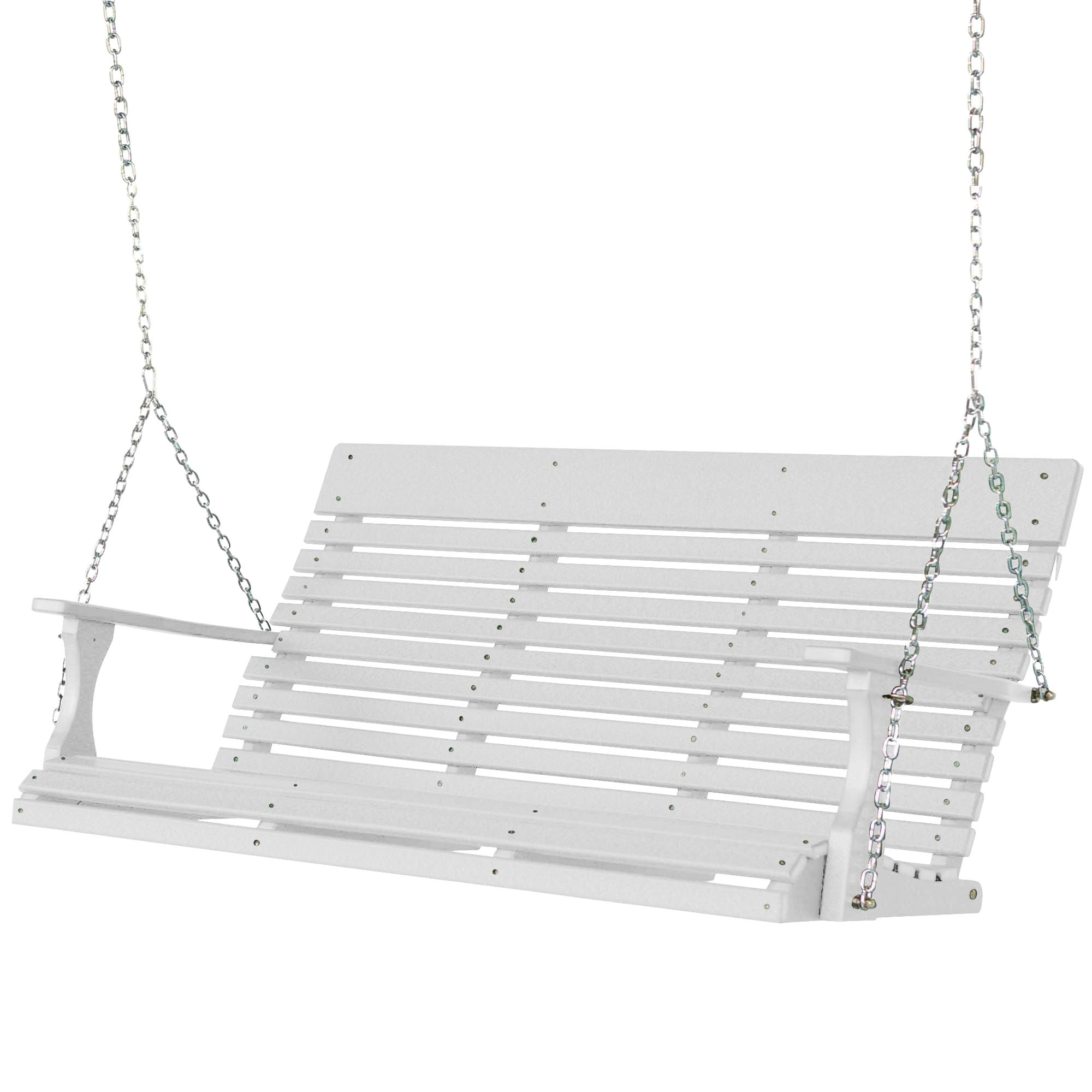 Casual back three seat porch swing ss white berlin for Extra wide swing seat