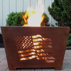Flag Fire Basket in Rust Finish