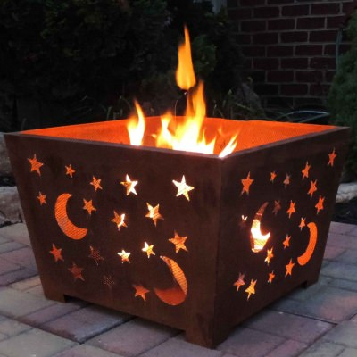 Star and Moon Fire Basket with Patina Rust Finish