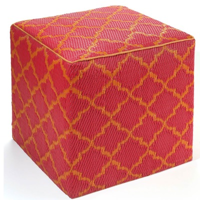 Tangier Orange Peel and Rouge Red Outdoor Cube