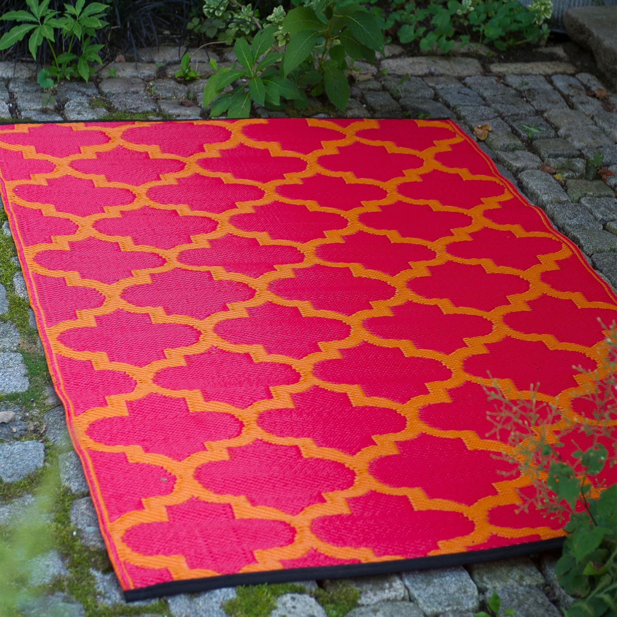 Tangier Orange Peel & Rouge Red Outdoor Mat