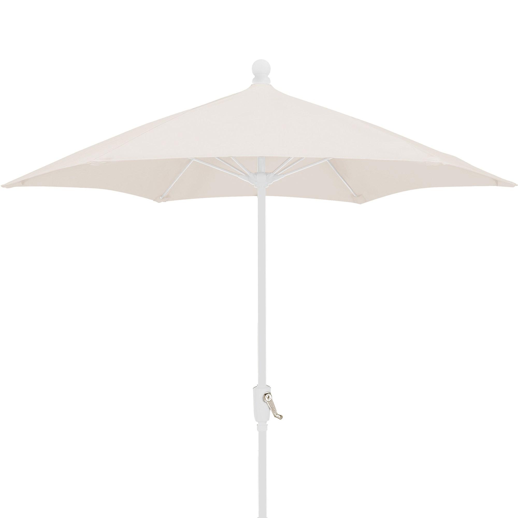 7 5 Ft Crank Lift Patio Umbrella With White Pole