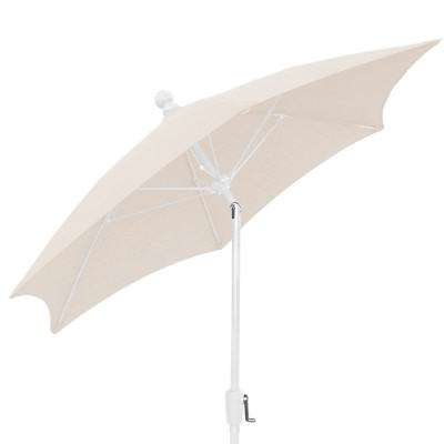 7.5 Ft Crank Lift Patio Umbrella with White Pole and Push Button Tilt