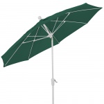 9 Ft Crank Lift Patio Umbrella with White Pole and Push Button Tilt