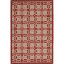 Five Seasons Retro Clover Red and Natural Outdoor Rug