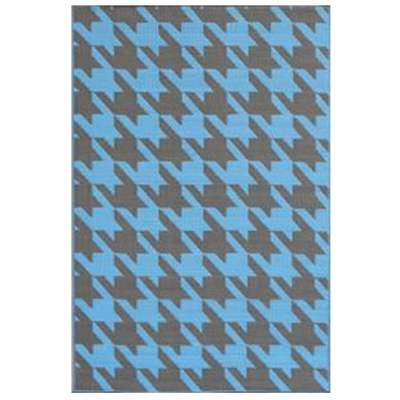 Houndstooth Charcoal Blue Outdoor Mat 5ft x 8ft