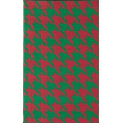 Houndstooth Red & Green Outdoor Mat