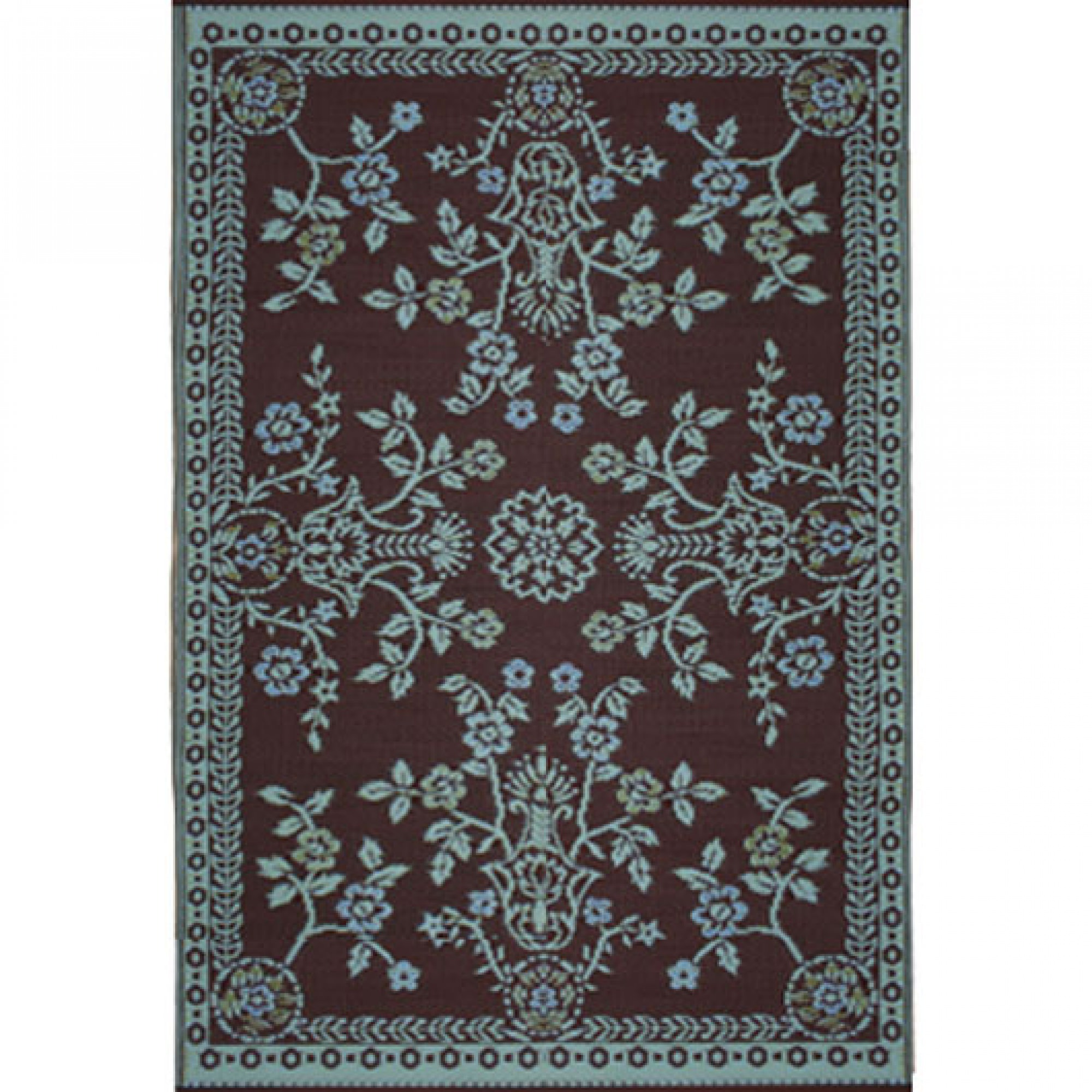 Plastic Outdoor Rug Mat: Mad Mats - Oriental Garland Teal/Brown - 6x9