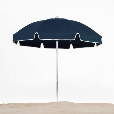 7.5 Ft. Manual Lift Fiberglass Beach Umbrella with Silver Pole