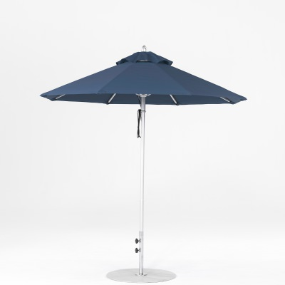 7.5 Ft. Pulley Lift Aluminum Market Umbrella with Silver Pole