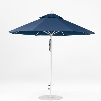 9 Ft. Pulley Lift Aluminum Market Umbrella with Silver Pole
