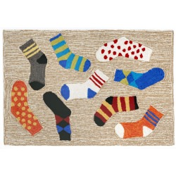 Lost Socks Multi Front Porch Outdoor Rug