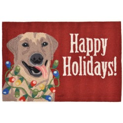 Happy Holidays Red Front Porch Outdoor Rug