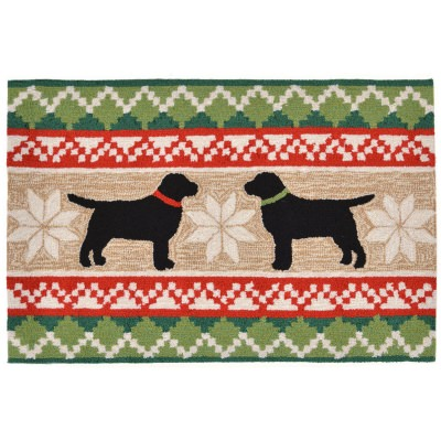 Nordic Dogs Neutral Front Porch Outdoor Rug