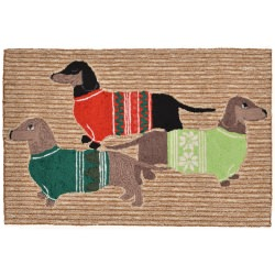 Holiday Hounds Neutral Front Porch Outdoor Rug