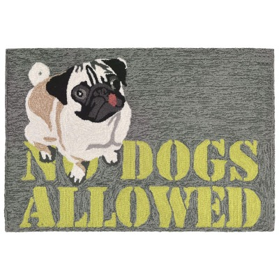 Frontporch No Dogs Allowed Grey Outdoor Rug