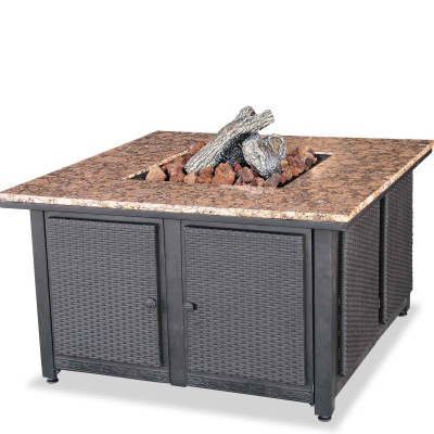 Square Propane Gas Fire Table with Granite Mantel