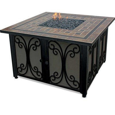 Square LP Gas Fire Table with Slate Tile Mantle and Bronze Fire Glass