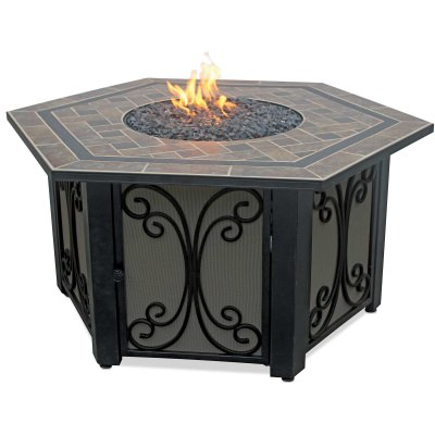 Hexagon Propane Gas Fire Table with Slate Tile Mantle