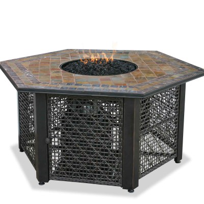 Propane Gas Slate Fire Pit Table with Black Fire Glass