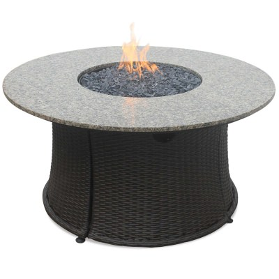 LP Gas Fire Table with Granite Mantel and Black Fire Glass