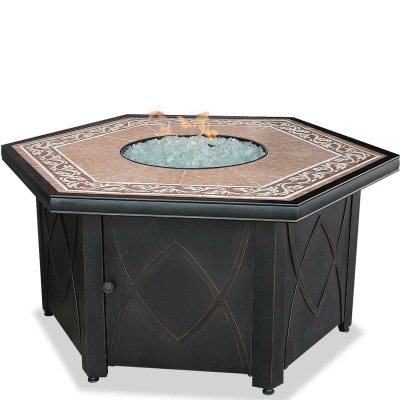 Propane Gas Fire Table with Decorative Tile Mantel