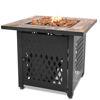 LP Gas Fire Table with Slate Tile Mantel and Lava Rocks