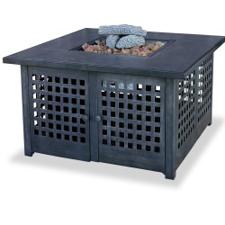41.3 Square LP Gas Firebowl With Tile Mantel in Black