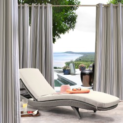 Black and Grey Stripe Gazebo Polyester Outdoor Curtain