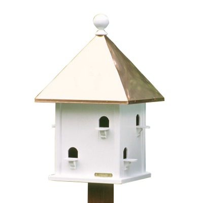 Square Bird House with Polished Copper Roof