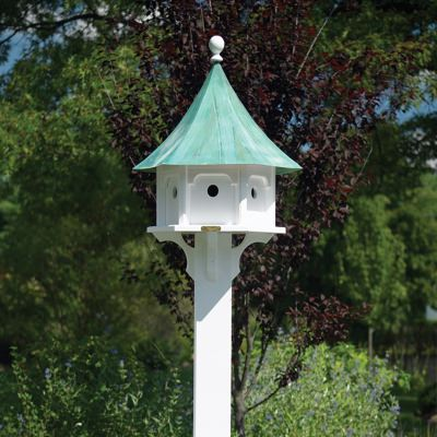 Carousel Bird House with Blue Verde Copper Roof