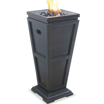 Medium Propane Gas Outdoor Fireplace with Black Fire Glass